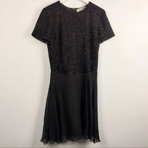 Vintage Adrianna Papell black beaded silk dress